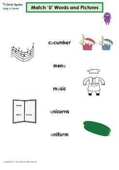 Long u Vowel Sound Matching Words and Pictures