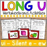 Long u Worksheets- silent e, oo, ew