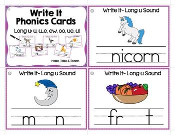 Long u (u, u_e, oo, ew, ui, ue)  Write It Phonics Cards
