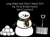 Long vowel and short vowel sort (winter) themed printer friendly