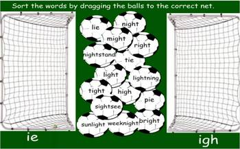 Long vowel i spelled ie and igh SmartBoard sorting activity