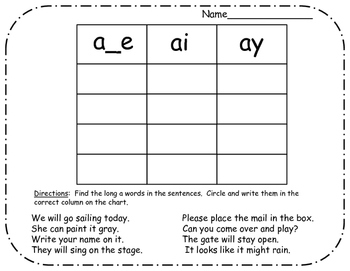 Language Arts - Long vowel sentence word sorting