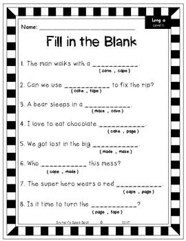 Long Vowel Spelling Packs- NoPrep