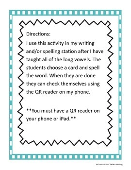 Long vowel spelling cards with QR codes