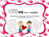 Long vowel vs Short vowel Valentine worksheets