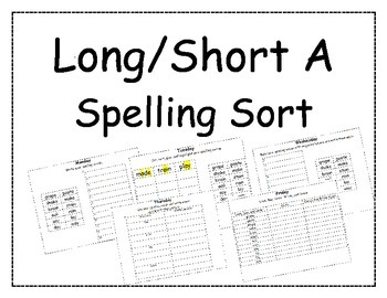 Long/Short A Spelling Packet, Long A Pattern Spelling Packet 1 and 2