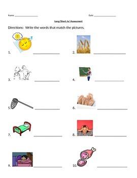 Long/Short Vowel Assessment Pack