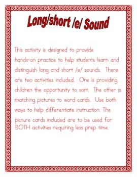 Long/Short /e/  Vowel sort