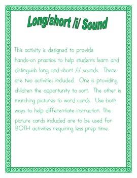 Long/Short /i/  Vowel sort