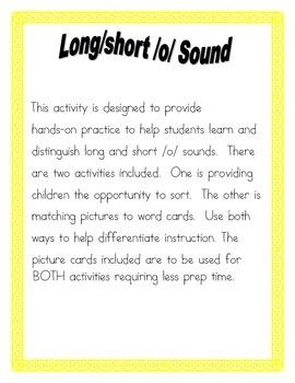 Long/Short /o/  Vowel sort