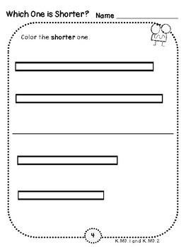 Longer or Shorter Student Pages (***FREEBIE***Kindergarten-K.MD.1 and K.MD.2)