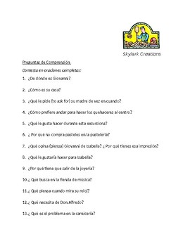Spanish 1   El Error de Giovanni      Reading Comprehension and Questions