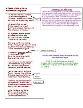 """Longfellow """"A Psalm of Life"""" Analysis"""