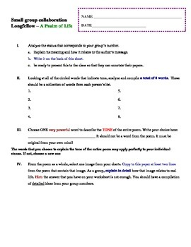 """Longfellow - """"A Psalm of Life"""" group response form"""