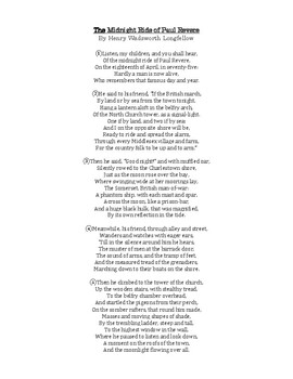 """Longfellow's """"The Midnight Ride of Paul Revere"""": Poem, Worksheet, and Answer Key"""