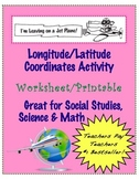 "Longitude Latitude Coordinates Worksheet ""Leaving on a Jet Plane"" ""with answers"""