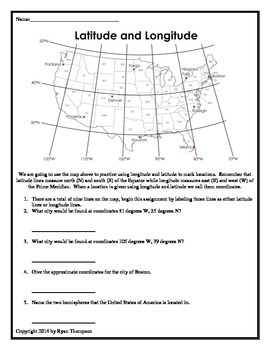 Longitude, Latitude, and Cardinal Directions PowerPoint and Worksheets