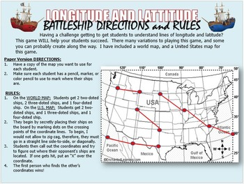 Longitude and Latitude Battleship Game (PowerPoint Version)