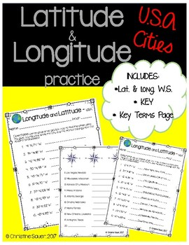 Latitude and Longitude Worksheet {USA Cities}