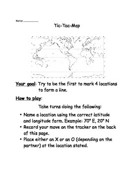 Longitude and Latitude TIC TAC TOE