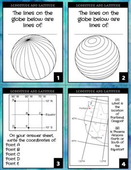 Longitude and Latitude Task Cards