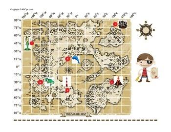 Longitude and Latitude Treasure Hunt Map