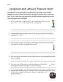 Longitude and Latitude Treasure Hunt Worksheet