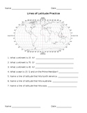 Longitude and Latitude Worksheets (SEPARATE SHEETS FOR BOTH)