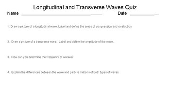 Longitudinal and Transverse Waves Differentiated Quizzes