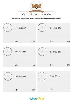 Longueurs, périmètres, aires - Périmètre du cercle - 6e