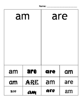 Look Alike Sight Word Sort