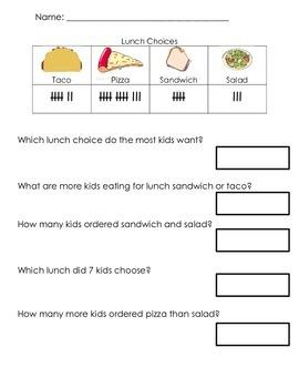 Look At My Data- Kindergarten Common Core Aligned Data Worksheets
