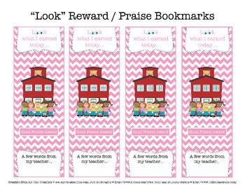 """Look"" Reward/Praise Bookmarks FREEBIE"
