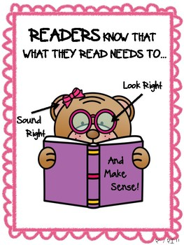 Look Right, Sound Right, Make Sense Anchor Chart