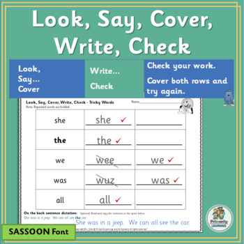 Amazing Sight Word Practice happens with Look Say Cover Write Check! (SASSOON)