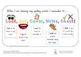 Look, Say, Cover, Write, Check Spelling Reminder/ Task Card