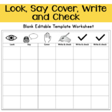 Look, Say Cover, Write and Check Blank Editable Template Worksheet