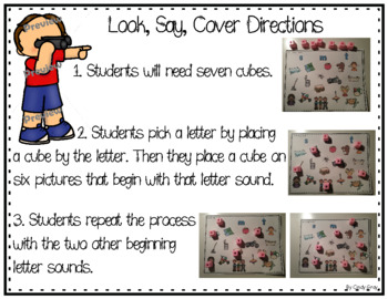 Look, Say, and Cover ~ Beginning Sounds ~ Phonemic Awareness