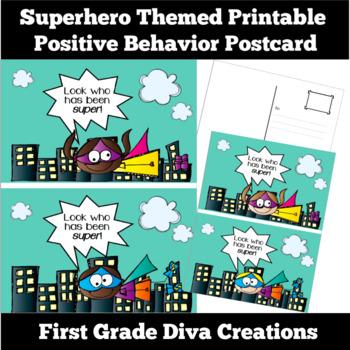 Superhero Themed Printable Positive Behavior Postcard