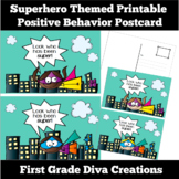 Superhero Themed Printable Positive Behavior Postcard