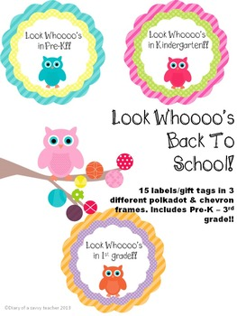 """Look Whoooo's back!! Owl themed Back To School labels/gift tags"