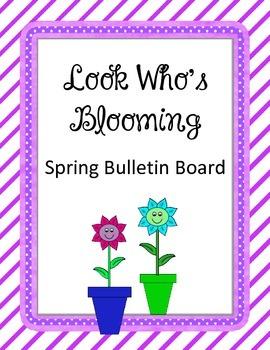 Look Who's Blooming Bulletin Board.  Spring. Flower Frames flower pots