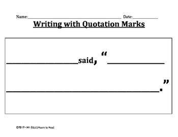 Look Who's Talking!  Quotation Marks Template