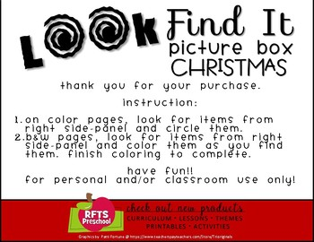 Look and Find It Picture Boxes CHRISTMAS VERSION