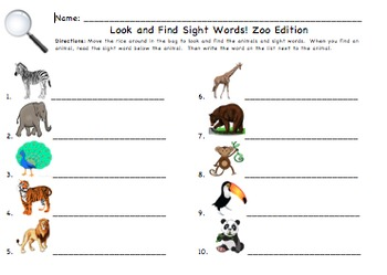 Look and Find Sight Word Activity