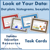 Look at Your Data! Task Cards for Dot Plots, Histograms, Boxplots (Common Core)