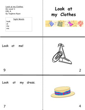 Look at my clothes: Reproducible Guided Reading Book Level A
