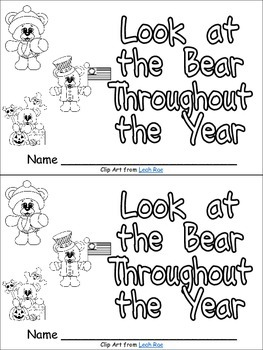 Look at the Bear Throughout the Year Emergent Reader for Kindergarten- Months