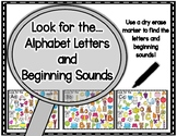 Look for the….Spot The Alphabet Letters and Beginning Sounds Mats (Color & BW)