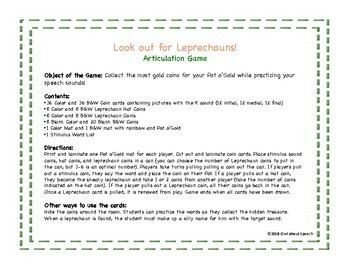 Look out for Leprechauns! Articulation Game for the K sound FREE